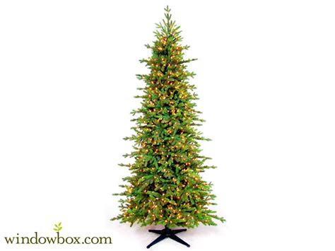new castle artificial fir tree 7 5 ft new yorker artificial fir prelit tree white lights windowbox