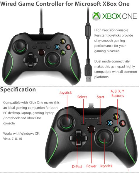Microsoft Xbox One Controller For Windows 1 2 wired controller joystick joypad for microsoft