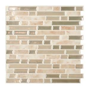 peel and stick wall tile shop smart tiles 6 pack beige linear mosaic composite