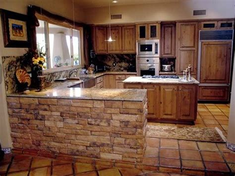 stone kitchen island stone around kitchen island or any other half wall the not so humble abode pinterest