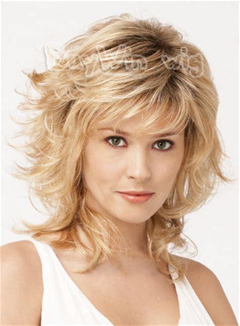 european shag haircut wholesell hot blonde medium wigs golden heat resistant