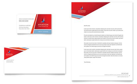 business card and stationery template aviation flight instructor business card letterhead