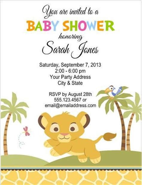 baby shower lion king party invites by customwrappers4u on