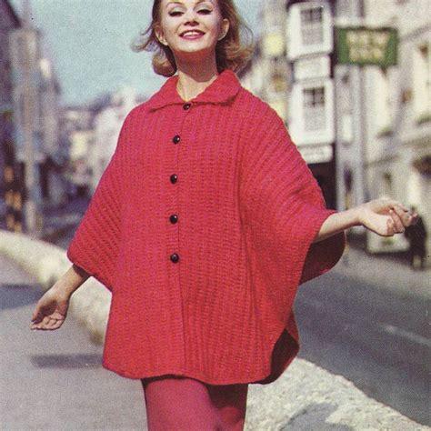 knit cape pattern collared button up cape poncho retro pdf pattern