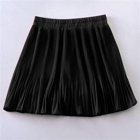 Pleated Plain Mini Skirt casual high waist plain skater flared pleated sweet