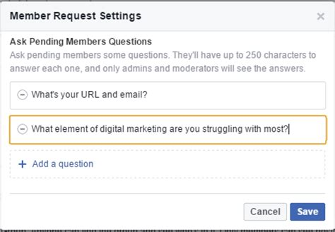 fb questions to ask facebook group application questions and how to link