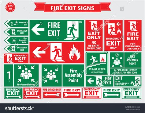 safety layout en francais set emergency exit sign fire exit stock vector 331424222