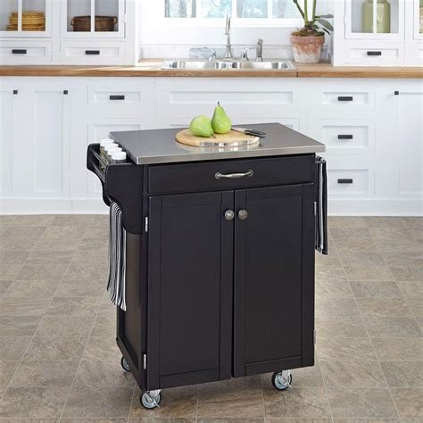 home styles create a cart red kitchen cart with stainless home styles create a cart black kitchen cart with