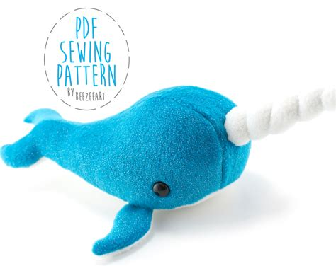 narwhal stuffed animal sewing pattern by beezeeart craftsy