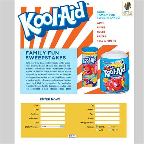 Create Sweepstakes - aurn kool aid sweepstakes microsite ashay media group