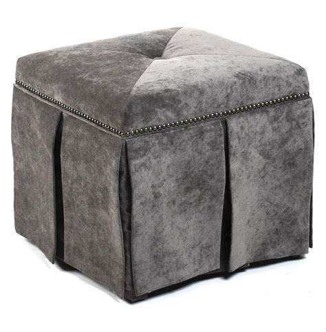 velvet ottomans raquel hollywood regency gray velvet kick pleat ottoman