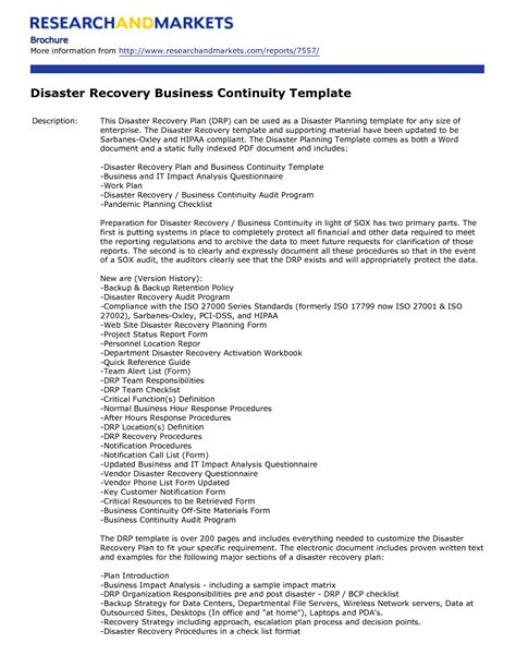disaster recovery plan template disaster recovery plan template free free business template