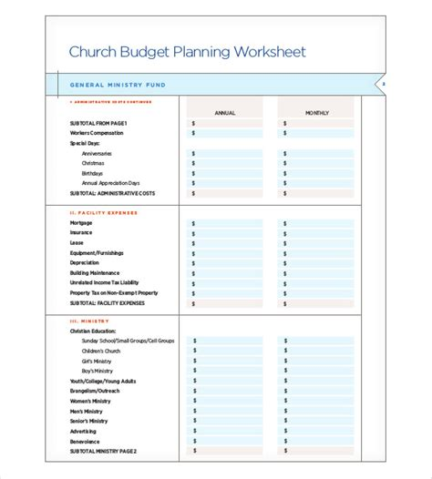 Ministry Budget Template Church Budget Template 10 Free Word Excel Pdf