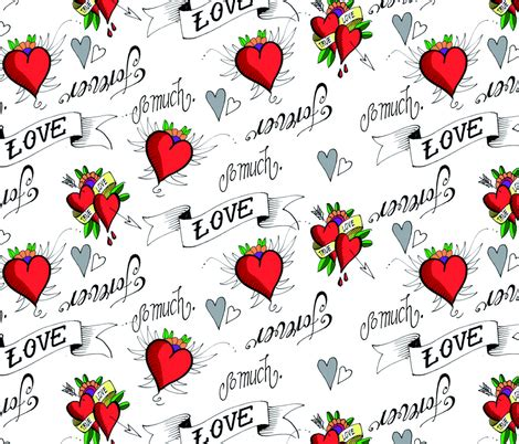 tattoo love fabric hamburgerliebe spoonflower