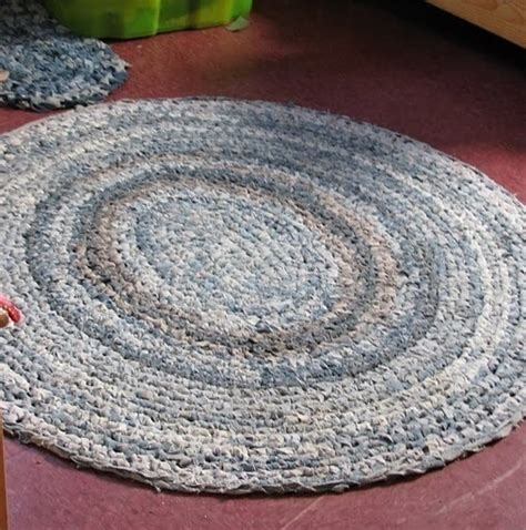 crochet denim rug rag rug