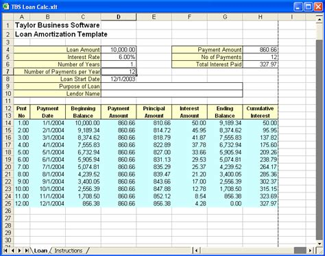 excel loan amortization template download loan