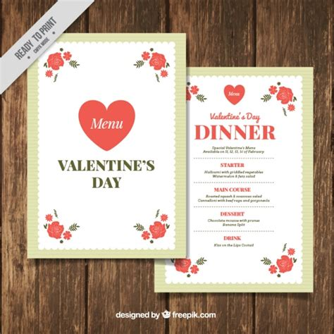 valentines menu template menu template with flowers vector free