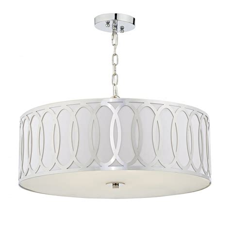 Drum Shades For Pendant Lights Geometric Drum Shade Ceiling Pendant Light With White Faux Silk Shade