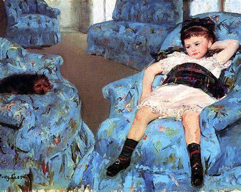 cassatt small in a blue armchair 24 inch