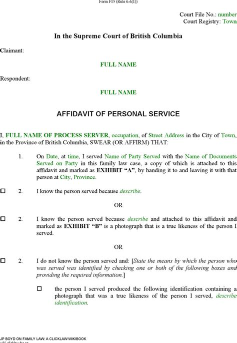 Free British Columbia Affidavit Of Personal Service Form Doc 37kb 2 Page S Affidavit Template For Family Court