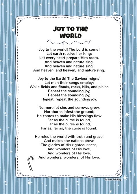 printable lyrics joy to the world joy to the world kids video song with free lyrics