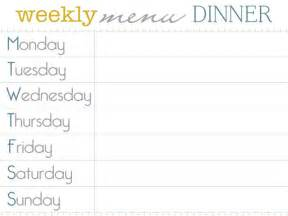 meal menu template free for a meal planner that can be printed and