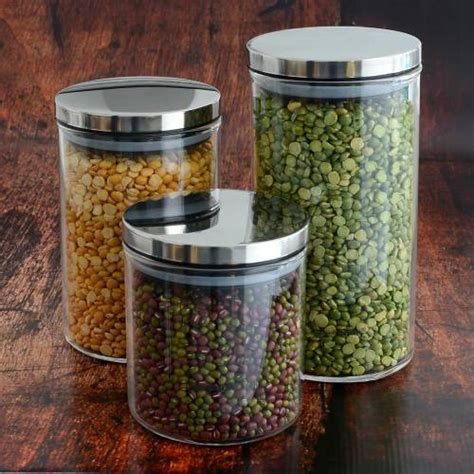 Kitchen Canister Sets by Glass Storage Jars Set Of 3 Food Storage Containers From