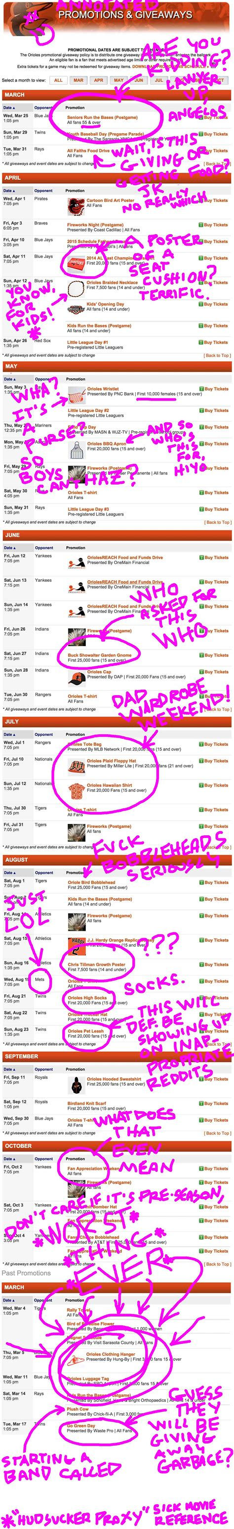 Orioles Giveaways - a partially annotated list of baltimore orioles promotions and giveaways