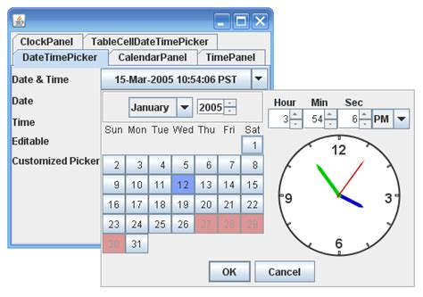swing date picker java swing date time selector