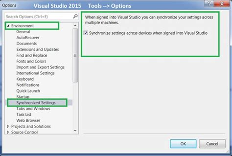 reset settings in visual studio 2015 visual studio 2015 feature series 1 account management