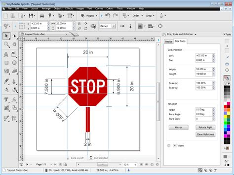 layout printing software guides dimensions grid rulers pages vinylmaster xpt