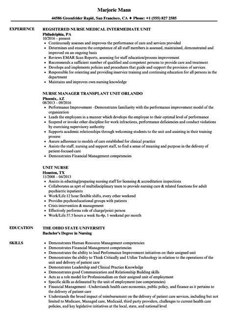 Unit Resume by Unit Resume Sles Velvet