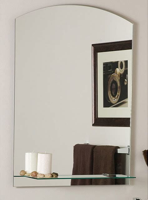 Contemporary Bathroom Mirror The Arch Frameless Mirror With Shelf Contemporary Bathroom Mirrors By Overstock