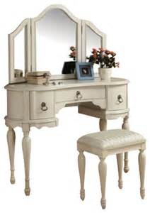 Bedroom Makeup Vanity Set Trini 3 White Finish Wood Make Up Dressing Table