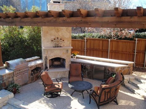 outdoor living spaces plans 14 outdoor kitchens with fireplace inspiring designs