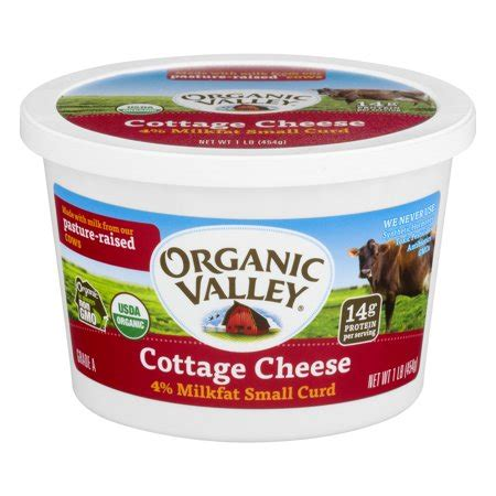 cottage cheese organic organic valley 174 small curd 4 milkfat cottage cheese 16 oz