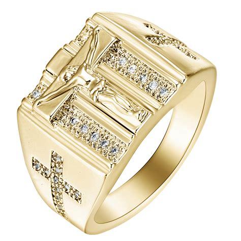 ? ???????? ?Gold Rings Jesus Design Cross ? carved carved
