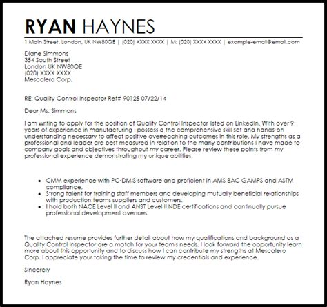 Quality control inspector cover letter sample letter samples