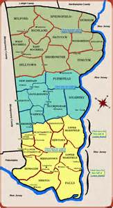 Map of bucks county pa includes falls township bristol township