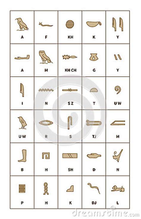 lettere egiziane insieme dell alfabeto egiziano di geroglifici con le