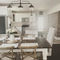 Kitchen Dining Lighting Rustic Modern Farmhouse With Farmhouse Table With A Wood Top And White Cabinets Home