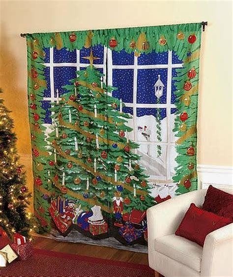 christmas curtain panels wrinkle resistant christmas scene 2 panels window curtain set