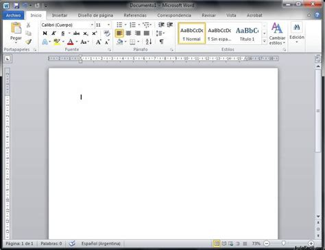 barra superior word interfaz de word 2010 word 2010