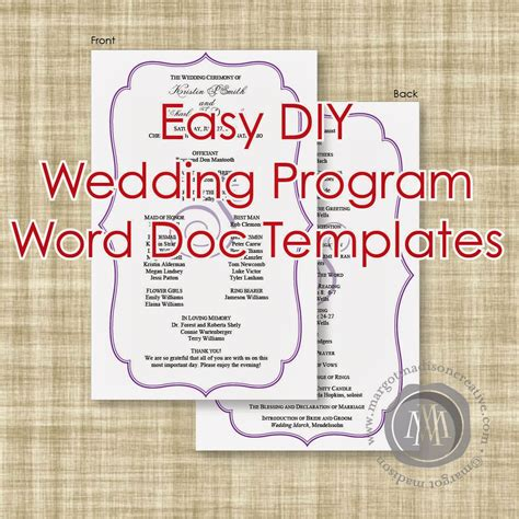 wedding program template printable wedding program folded