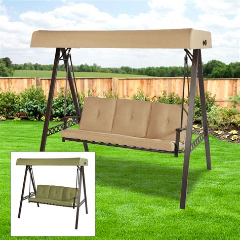garden winds replacement swing canopy replacement canopy for 3 person swing beige riplock