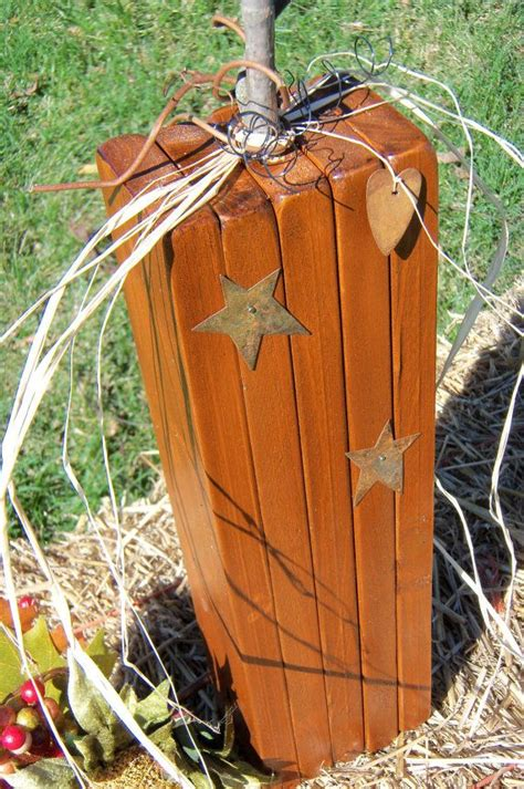 Handmade Primitives - primitive wooden pumpkin handmade one pumpkin by