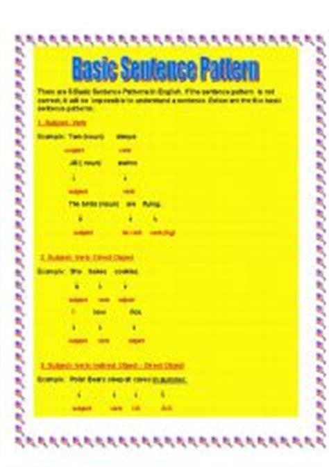 basic patterns of english sentences english worksheets basic sentence pattern