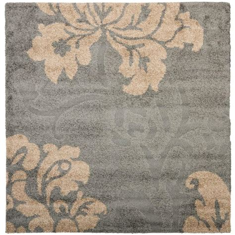 4 X 4 Area Rugs Safavieh Florida Shag Gray Beige 4 Ft X 4 Ft Square Area Rug Sg458 8013 4sq The Home Depot
