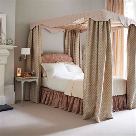 draped bed dusky pink bedroom with draped four poster bed bedroom