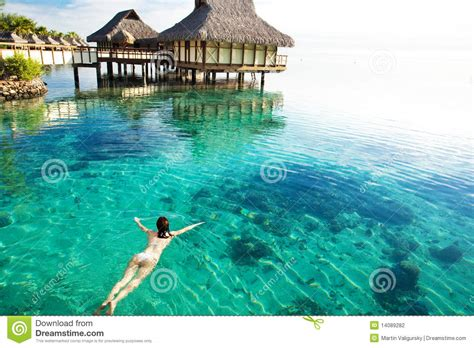 Bungalow Plans by Young Woman Swimming In A Coral Lagoon Stock Photo Image